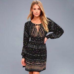 FREE PEOPLE Coryn Black Print Long Sleeve Dress